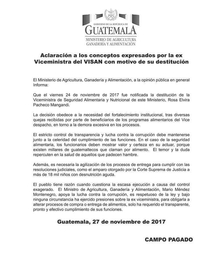 Carta exviceministra Pacheco