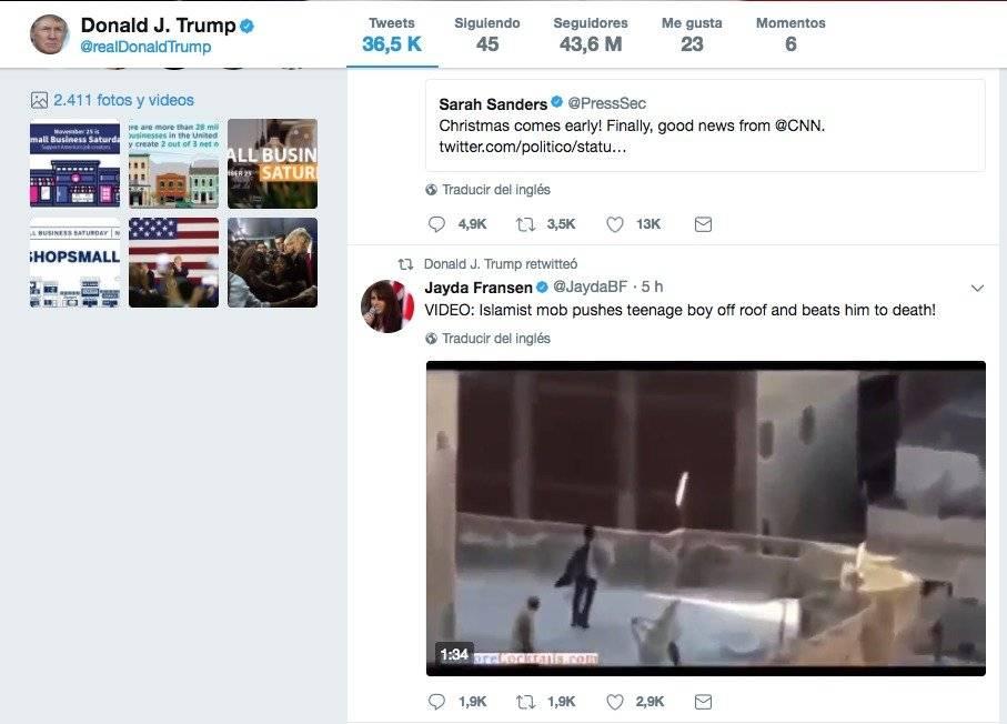 Twitter de Donald Trump Foto: @RealDonaldTrump