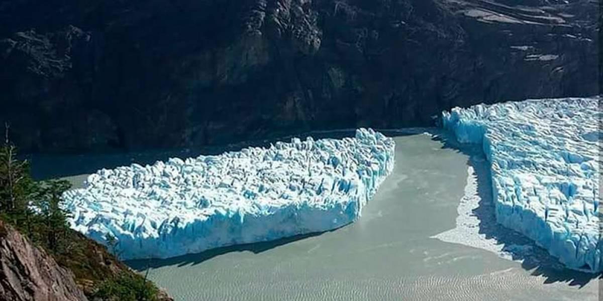"""Impactante fractura en glaciar Grey: experto alerta que témpano en Torres del Paine """"se transforma en una amenaza"""""""