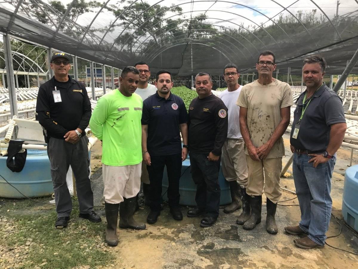 Grupo de confinados, junto a guardias correccionales y personal del Departamento de Corrección y Rehabilitación. Ronald Ávila Claudio