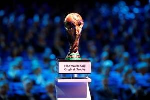 Vista geral do troféu oficial da Copa do Mundo