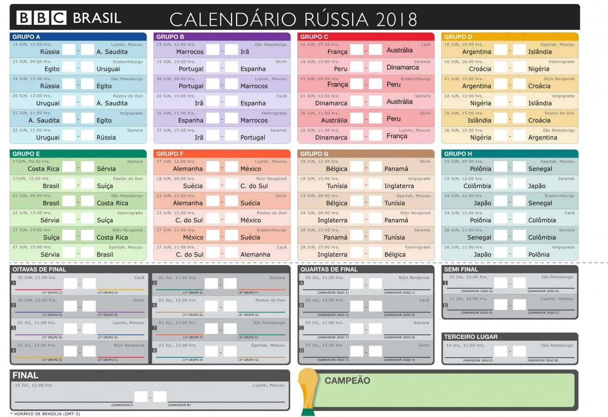 Calendários Jogos Copa do Mundo 2018