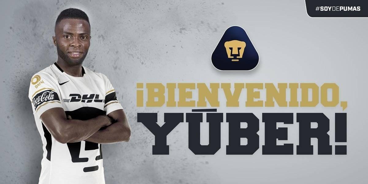 Yuber Asprilla llega como refuerzo de Pumas para el Clausura 2018