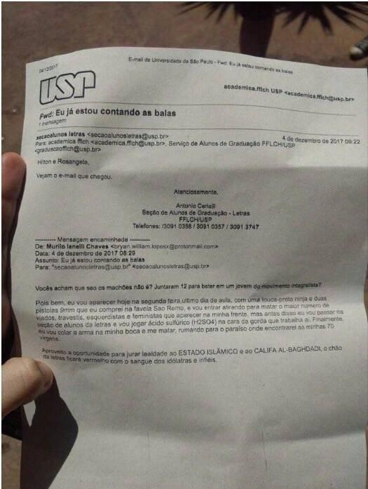 Carta ameaça USP