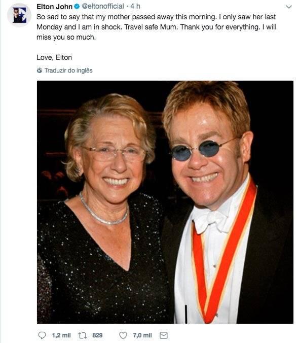 Elton John mãe Sheila