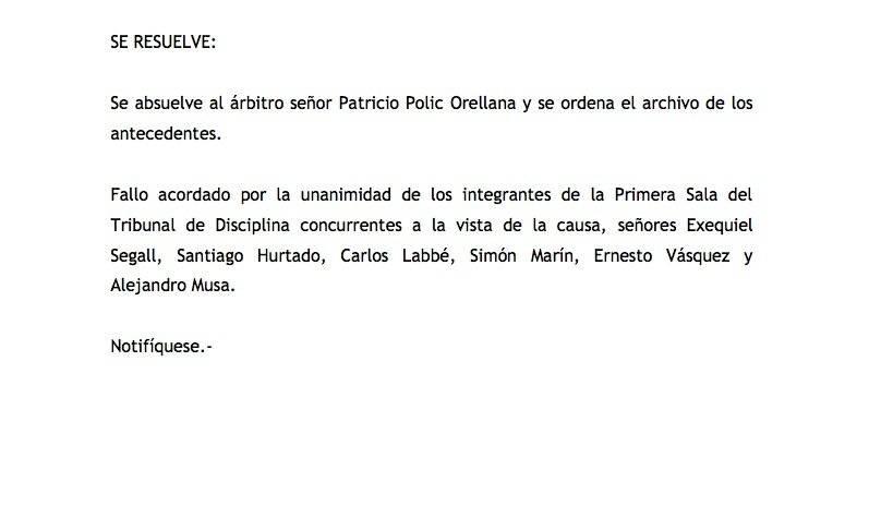 El Tribunal absolvió a Patricio Polic