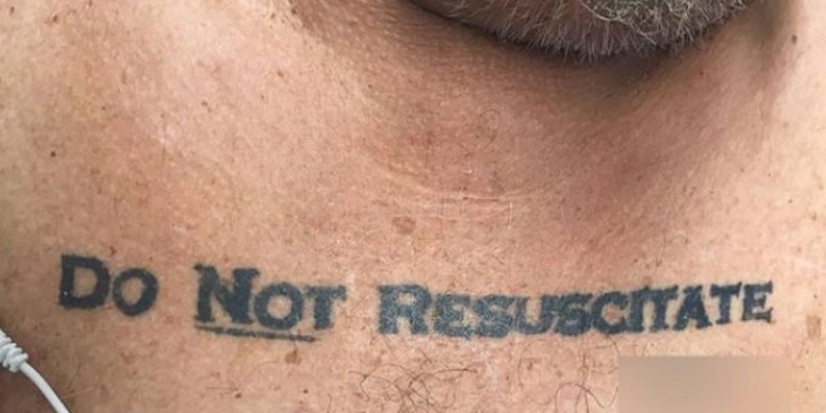 """No resucitar"", el polémico tatuaje de un paciente que entró a terapia intensiva"