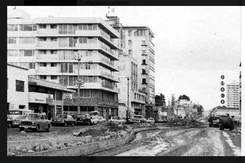 Av 10 de Agosto y San Gregorio, sector Palacio de Najas en 1972, se puede ver almacenes El Globo a la derecha Quito Nostálgico