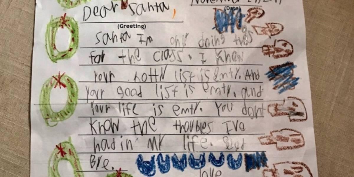 """""""Tu vida es vacía, Santa"""": niño de 6 años se vuelve viral por la """"odiosa"""" carta que escribió al Viejito Pascuero"""