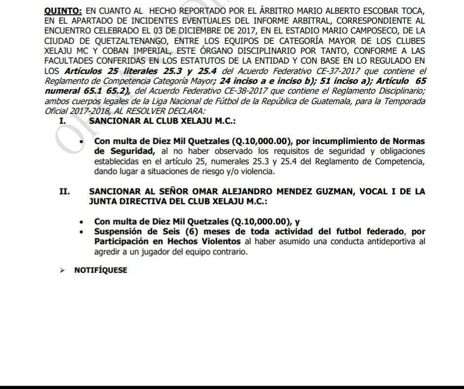 Resolución del Órgano Disciplinario.
