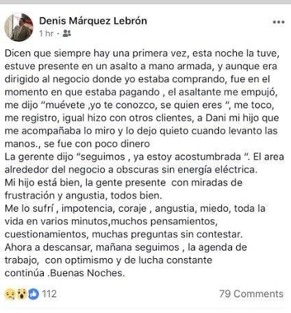 Estatus publicado en las redes sociales del legislador. Facebook