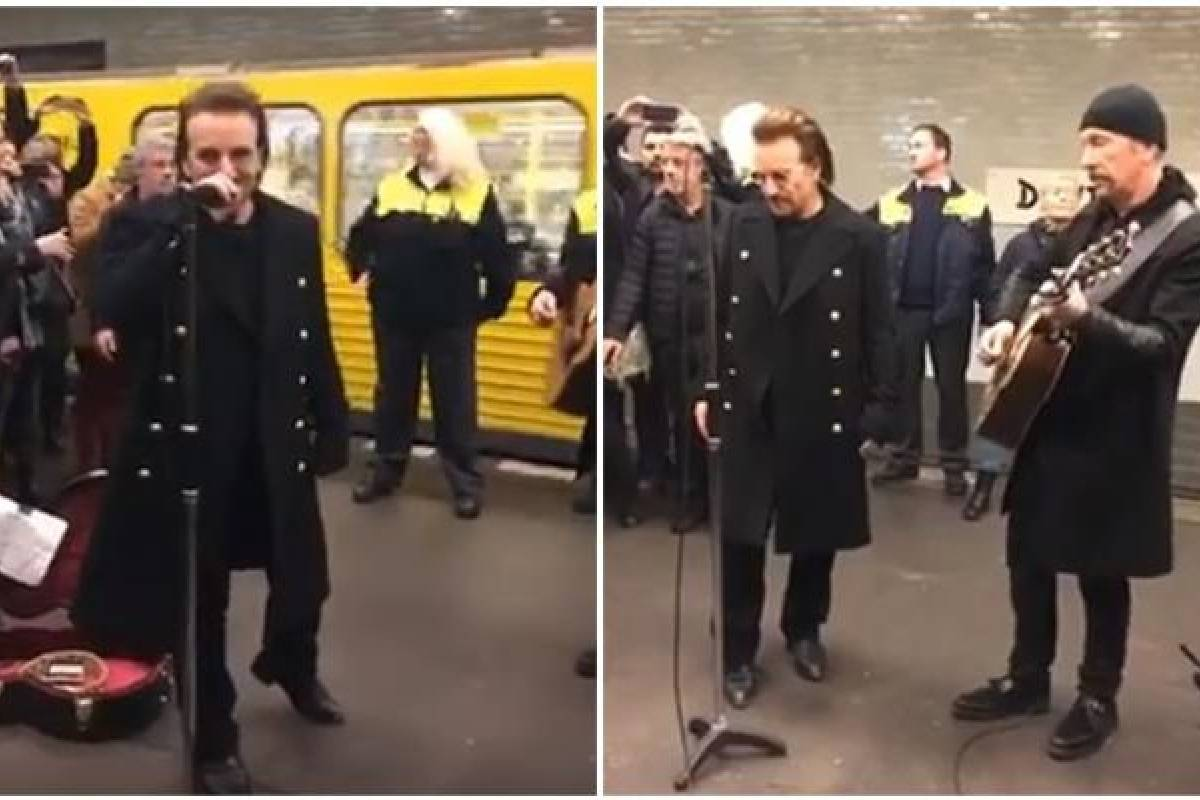 U2 sorprende con palomazo en Metro de Berlín