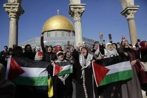 Manifestaciones en el Domo de la Roca, en Jerusalén