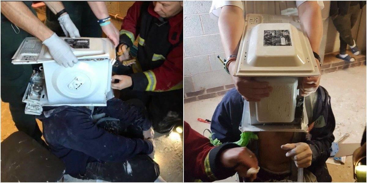 Youtuber 'cimenta' cabeça em micro-ondas e é salvo por bombeiros