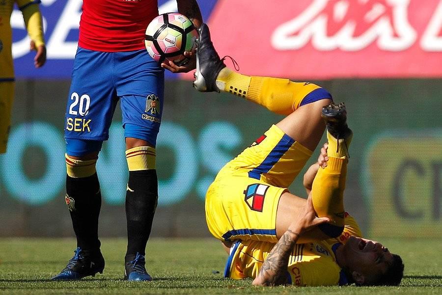La lesión que dio escalofríos en Santa Laura / imagen: Photosport