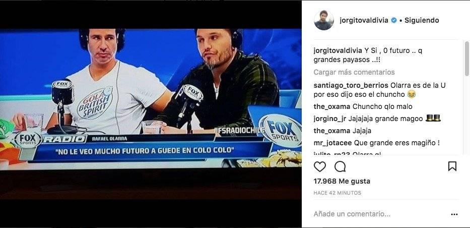 Jorge Valdivia no se guardó nada tras el título del Transición / imagen: Instagram Valdivia