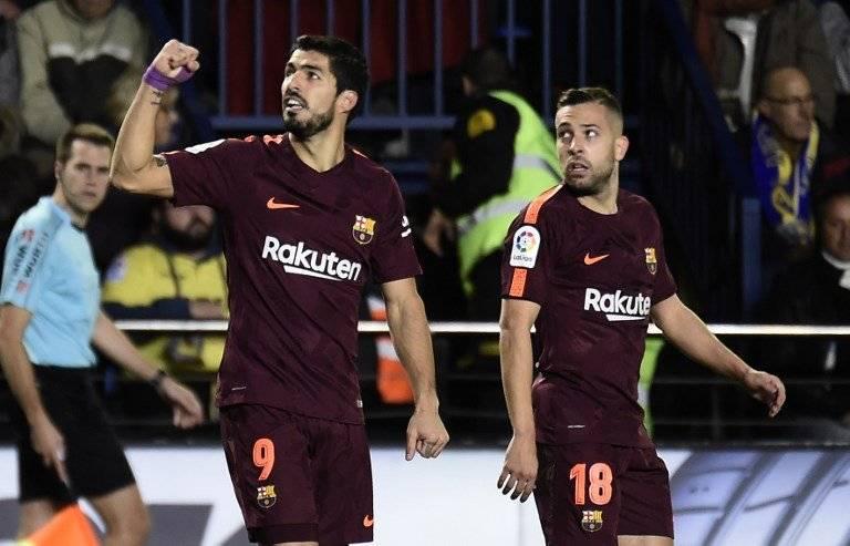 Luis Suárez celebra un gol ante el Villarreal