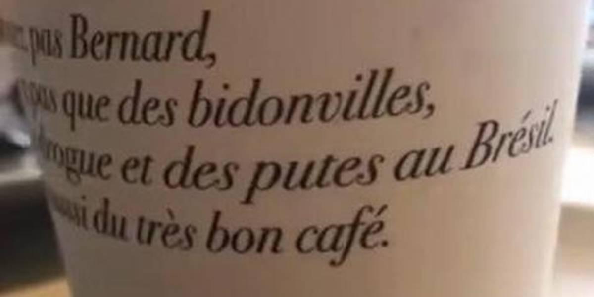Cafeteria francesa usa frase ofensiva contra brasileiros