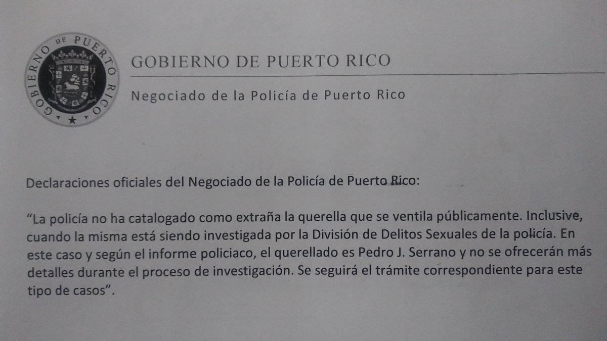 Policía de Puerto Rico no descarta querella contra Pedro Julio Serrano.