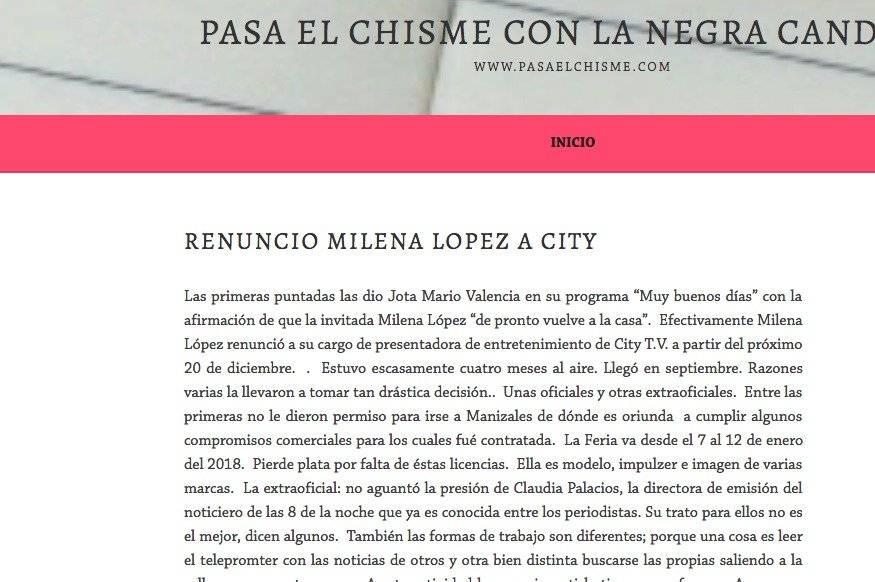 Captura de pantalla página web La Negra Candela
