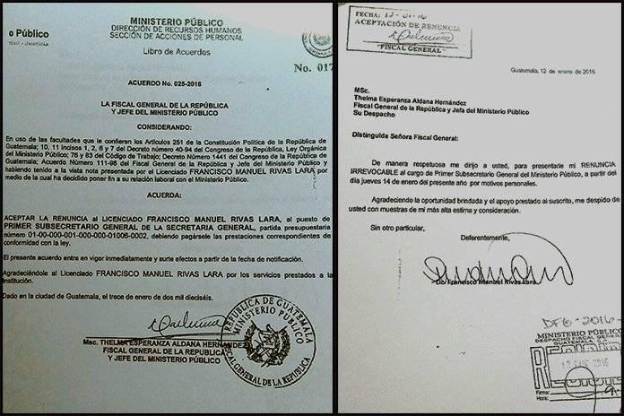 Renuncia del ministro de gobernación al MP