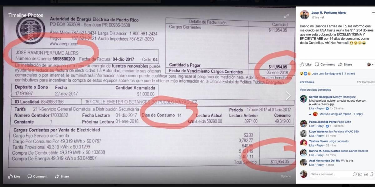Ciudadano recibe factura de luz de más de $11,000 por solo 17 días de consumo