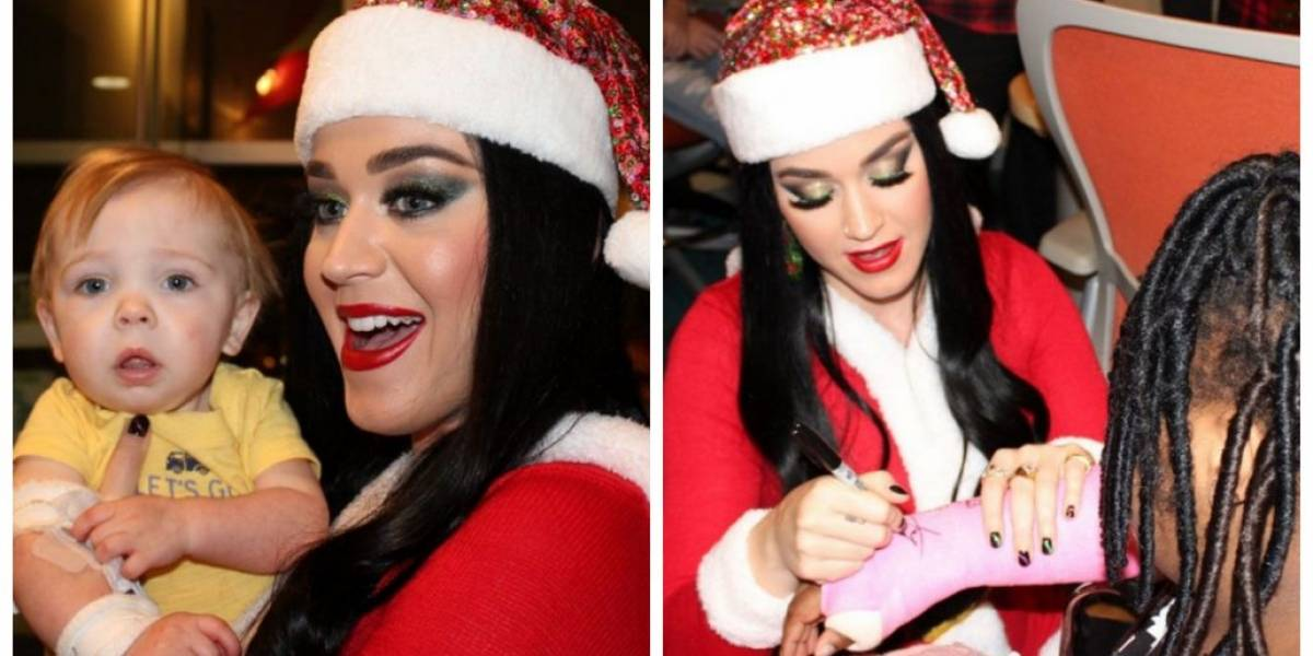 Katy Perry visita hospital infantil vestida de mamãe Noel e alegra crianças