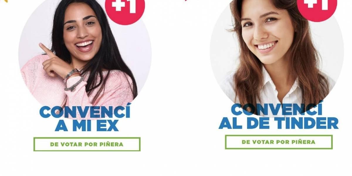"""""""Qué chiste"""": la reacción de las redes por campaña que llama a convencer """"al ex y al pinche de Tinder"""" de votar por Piñera"""