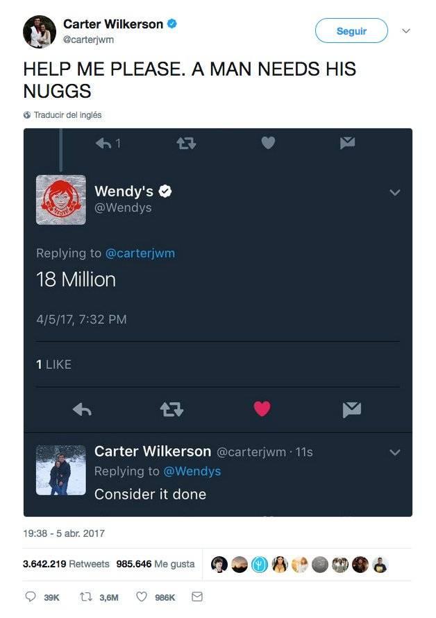 TUÍTE DO ANO: Nuggs. O tuíte mais popular de 2017 (e da história do Twitter até agora) não foi postado por uma celebridade, mas sim por um estudante americano chamado Carter Wilkerson. Em 5 de abril, ele tuitou uma resposta à empresa de fast-food Wendy