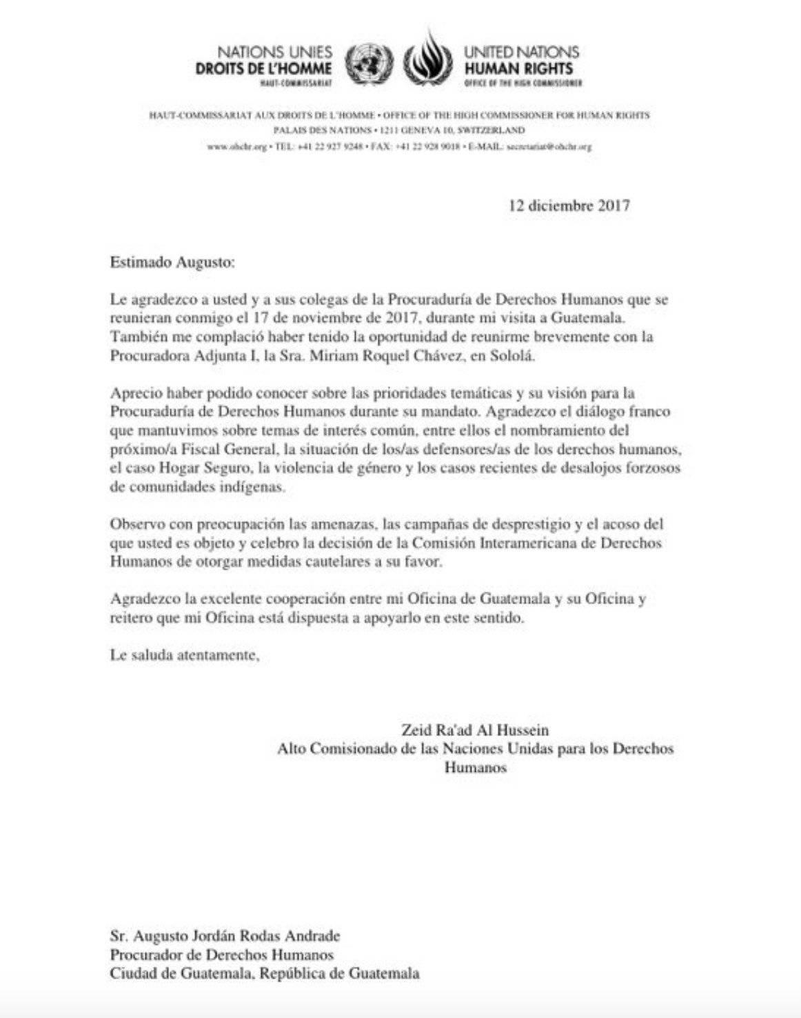 Carta del alto comisionado de los DDHH