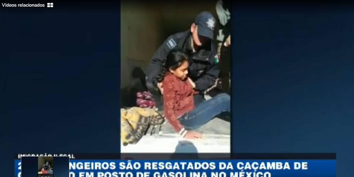 Estrangeiros são resgatados da caçamba de caminhão