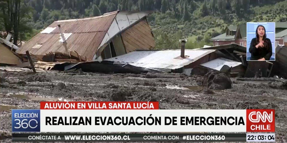 Alerta de nuevo alud: inician evacuación de urgencia en Villa Santa Lucía durante despacho de televisión