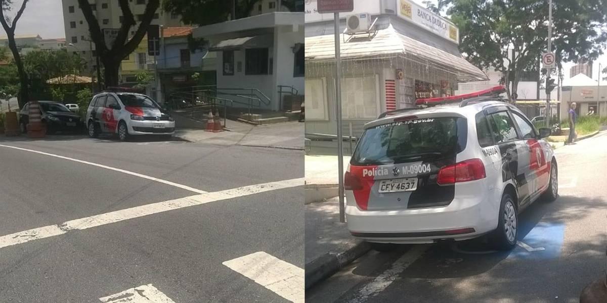 Agentes da PM são flagrados estacionando em vaga para deficientes