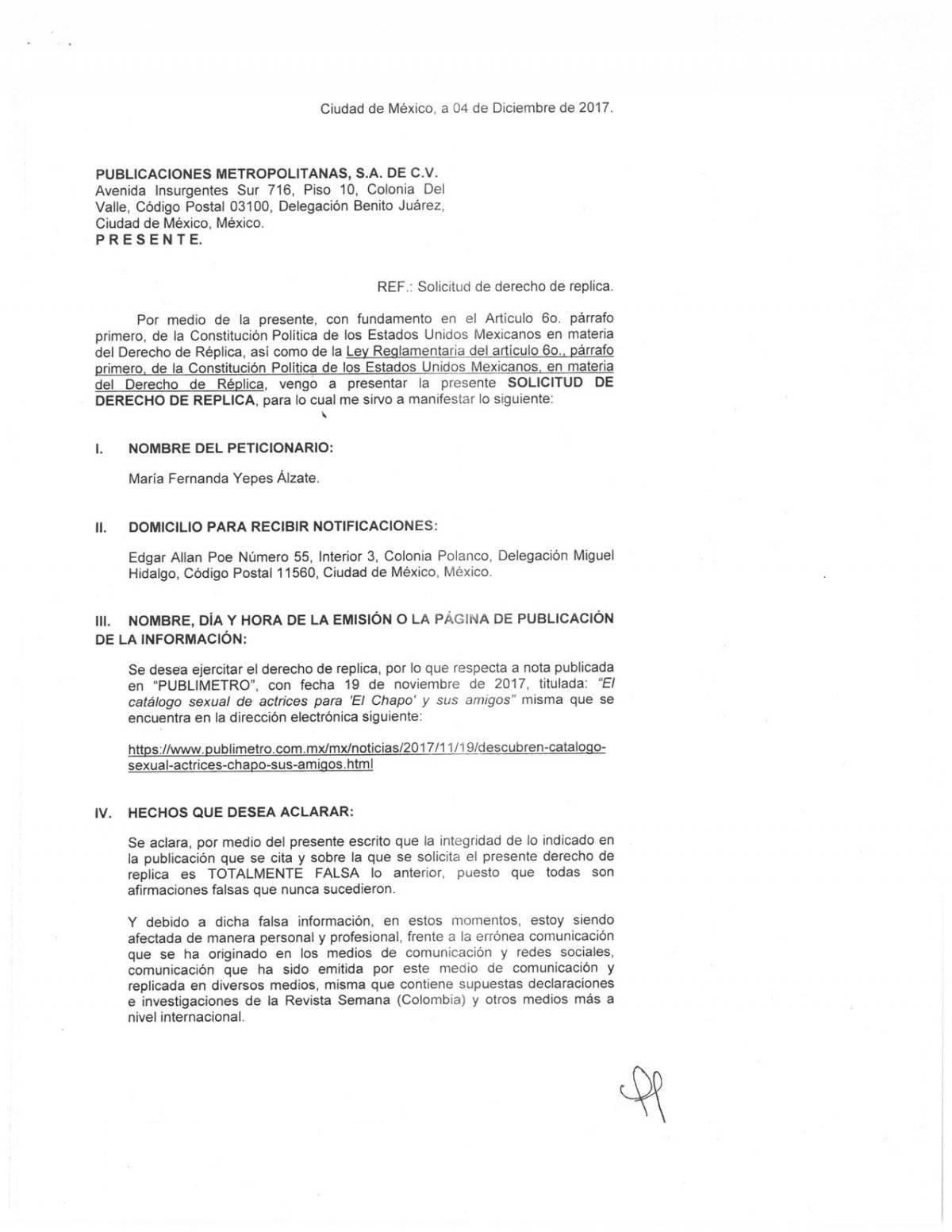 Aclaración, derecho de réplica, María Fernanda Yepes Alzate