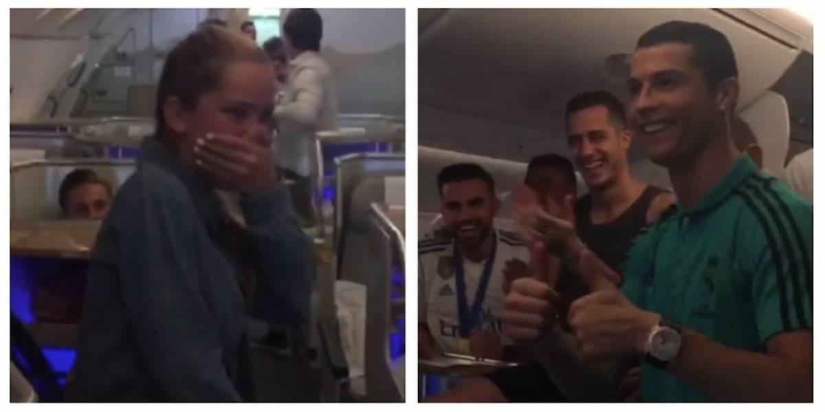 VIDEO. La hija de Míchel Salgado le canta a los jugadores del Madrid y Cristiano le da un romántico detalle