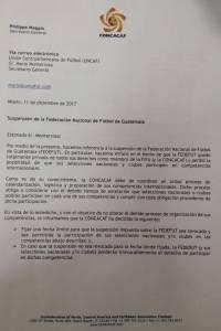La carta que la Concacaf le envió a la Fedefut donde le da las fechas límites para poder participar en los distintos torneos de 2018.