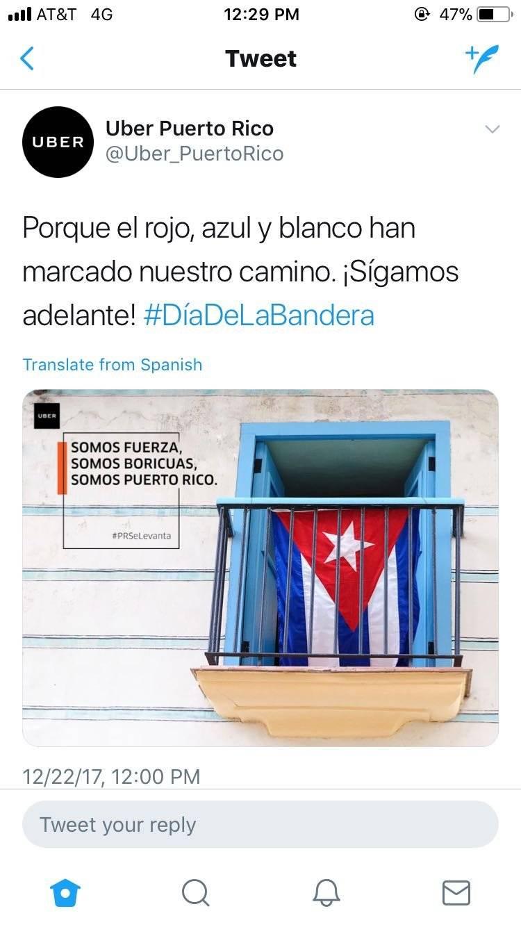 Captura de pantalla / Twitter: @Uber Puerto Rico