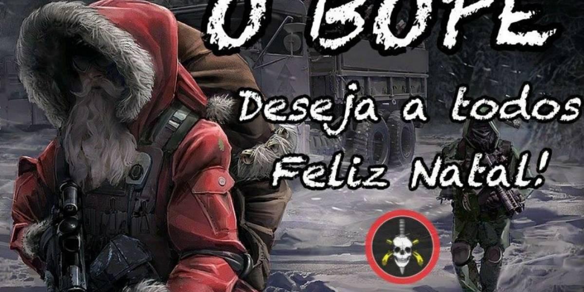 Bope publica mensagem de Natal com Papai Noel armado com fuzil