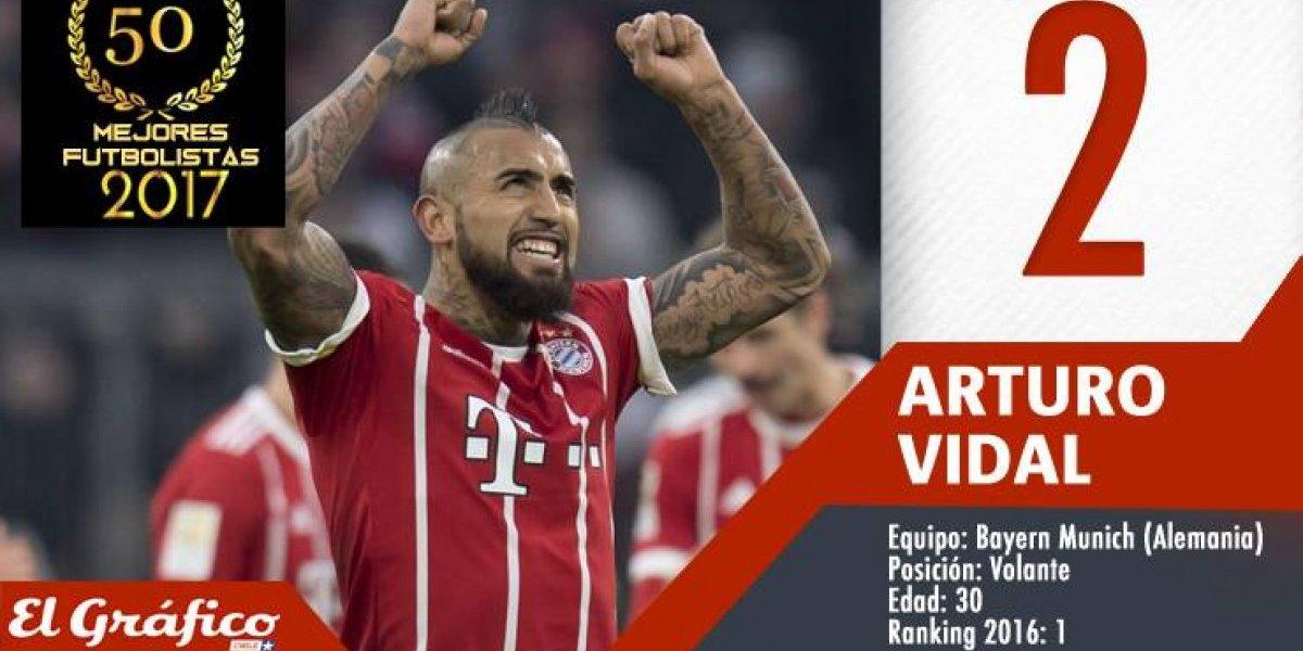 Los 50 mejores futbolistas chilenos de 2017: Arturo Vidal perdió la corona y bajó al segundo lugar