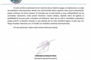 Confederación Palestina pide al presidente de Guatemala revertir decisión de trasladar embajada a Jerusalén