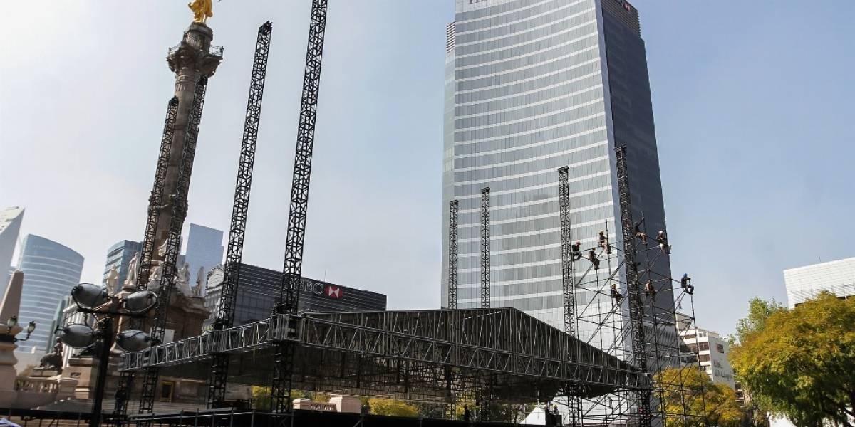 Cierran tramo de Reforma por preparativos de concierto de Año Nuevo