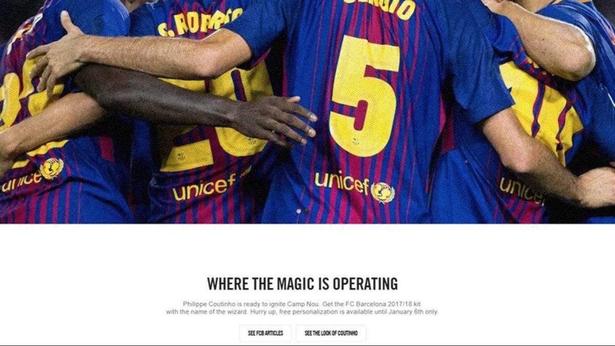 El anuncio en el sitio web de Nike