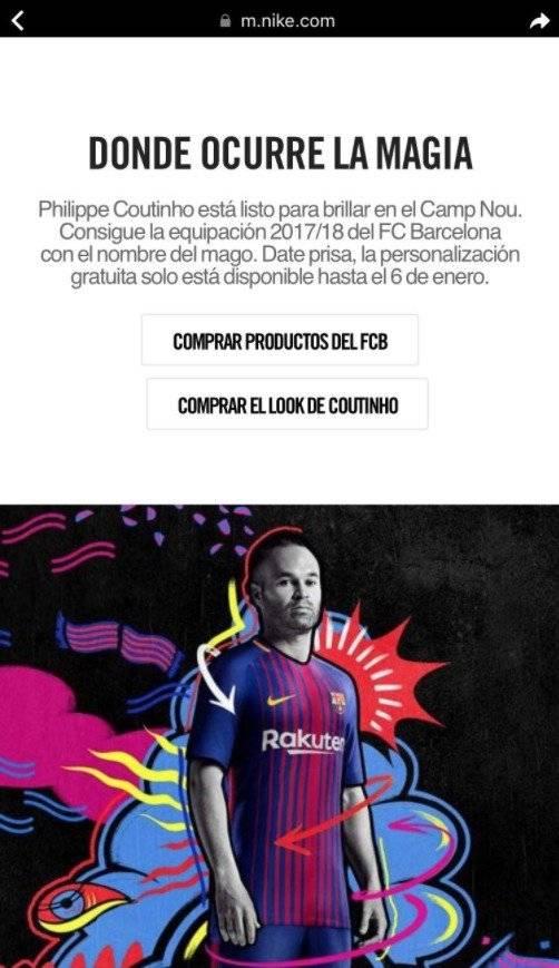 Nike ofrece camiseta de Coutinho