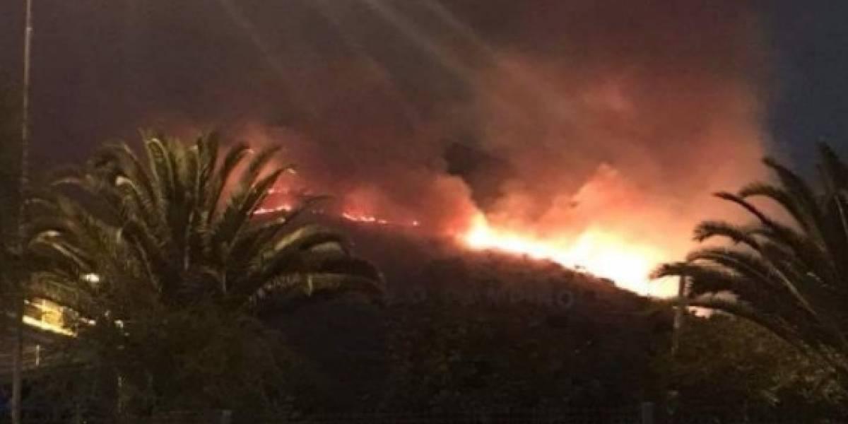 Sospechan que incendio en cerro Renca fue ocasionado por fuegos artificiales