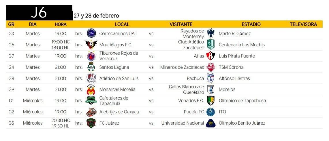 Jornada 6 Copa Mx