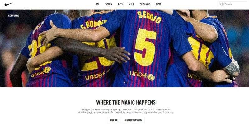 Site da Nike já