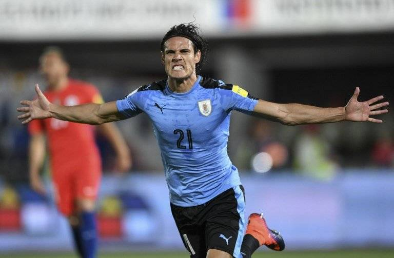 Edinson Cavani celebra un tanto con Uruguay