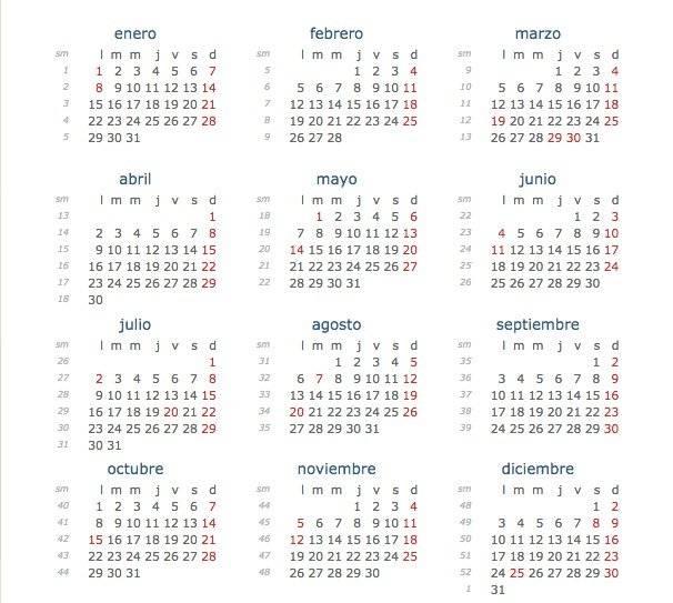 calendario festivos 2018