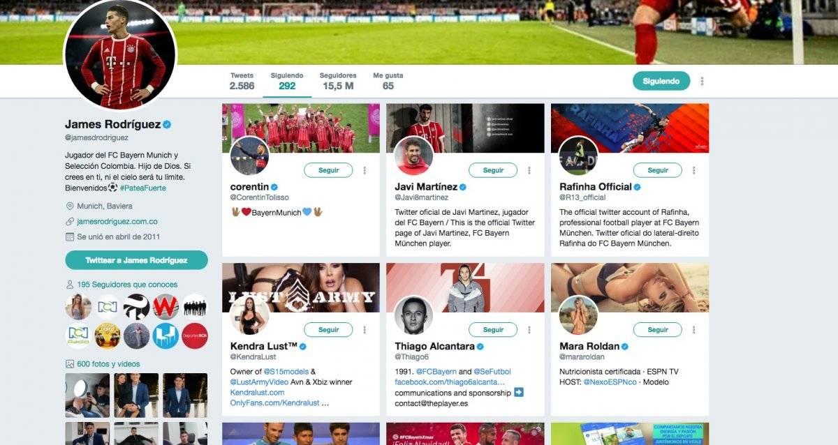 Captura de pantalla Twitter James Rodríguez
