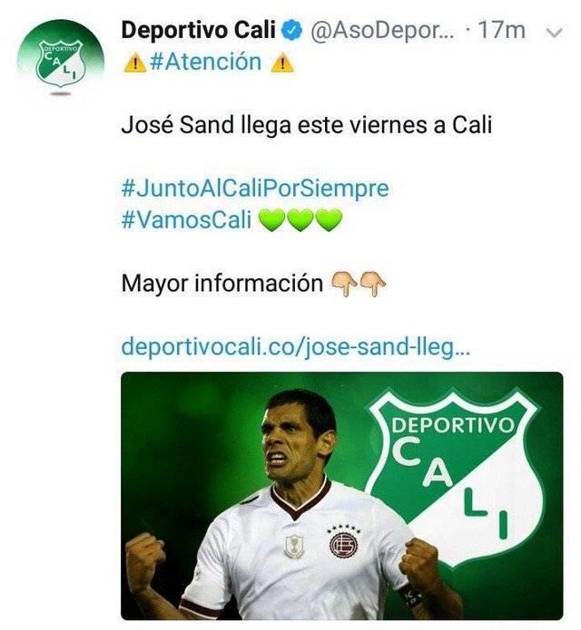 Sand siendo confirmado por Deportivo Cali este miércoles 3 de enero / Foto: Twitter